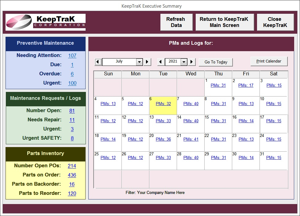 Calendar view CMMS Facility and Equipment Maintenance software of tracking auditing and compliance and Parts Inventory